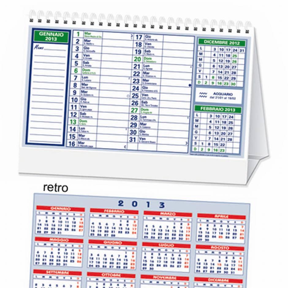 Grafikart calendario 2014 da tavolo blu verde con spirale 12 fogli anno completo sul retro - Calendari da tavolo con foto ...